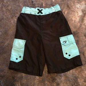 Youth black and teal swim trunks